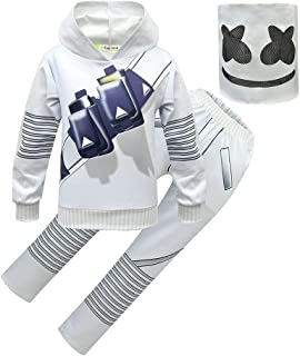 DJ Set Kids Hoodie with Full Head Masks Halloween Cosplay Costume for Boys and Girls