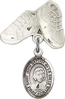 Sterling Silver Baby Badge Baby Boots Pin with Charm, 3/4 Inch