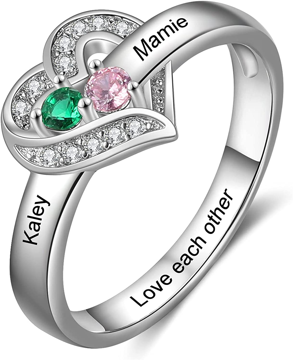 Personalized Max 84% OFF Heart Promise Rings for Her Name Engagement Max 51% OFF Couples