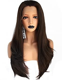 Anogol Hair Cap+ Brown Lace Front Wigs for Black Women Synthetic Lace Front Wigs for White Women Long Wavy Lace Front Wig Free Part Dark Brown Lace Front Wig