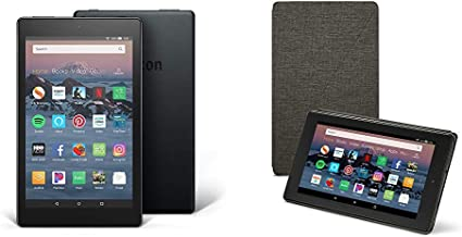 Fire HD 8 Tablet (16 GB, Black, With Special Offers) + Amazon Standing Case (Charcoal Black)