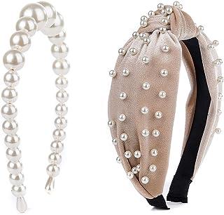 Pearl Headbands Vintage Artificial Pearl Headbands Hair Hoop Twisted Velvet Tie Beading Wide Hairband Hair Accessories Hai...