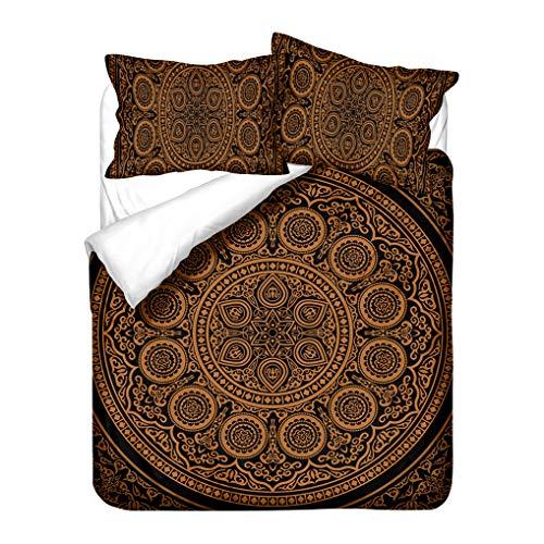 HNHDDZ Bettwäsche-Set Mandala Bohemia Exotic Patterns Design Bettbezug, Mit Kissenbezug 80x80, Leichte Mikrofaser, Geometrie Gelb Blau Lila Schwarz Bettbezug (Stil 1, 155x220 cm + 80x80 cm *2)