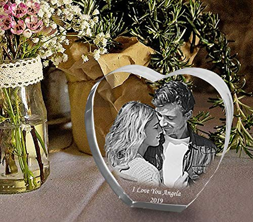 Custom Engraved Photo Glass Block, Personalised Heart Shape Crystal Paperweight as a Birthday Gift, Bespoke Wedding Gift, Present in Wedding Anniversary