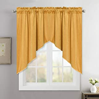 StangH Velvet Textured Kitchen/Cafe Curtain Swags and Valances Set, Half Window Yellow Curtains Tiers for Brighten up Space, Wide 35 x Long 36, 2 Panels