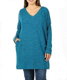 Zenana Plus Long Sleeve V-Neck Brushed Melange Sweater Fabric