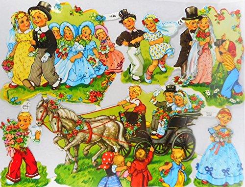 Glanzbilder Kutsche Hochzeit Kinder EF 7148 Oblate Posiebilder Scrapbook Deko GWI 380