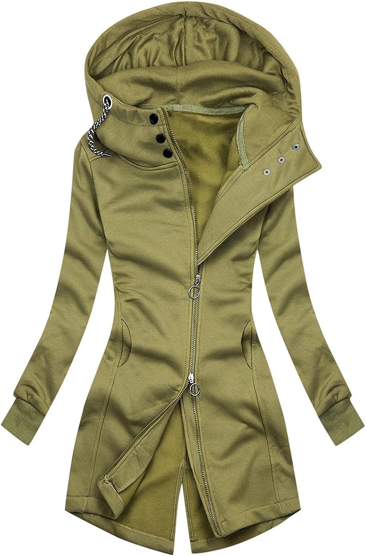 ManxiVoo Women Full Zip Button Hooded Hoodie Jacket Back Split Hem Sweatshirt Coat Outwear with Pockets