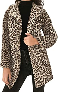 Faux Fur Parka Jackets Coat Sexy Leopard Print Button Warm Fleece Fluffy Long Outerwear with Pockets