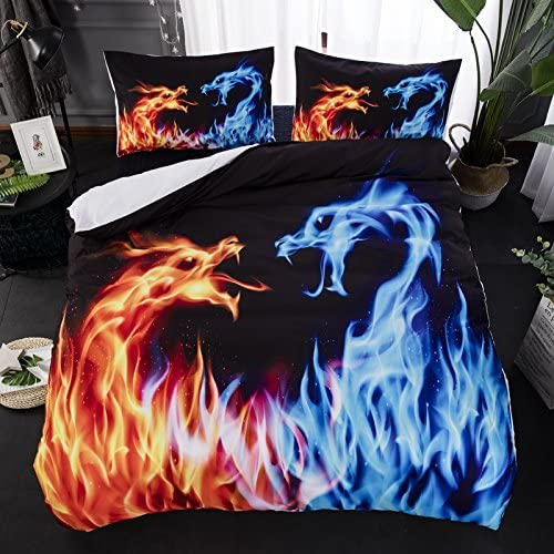2018 Elegant New Blue Fire Bedding Set Cool discount P 3D Dragon Bed Cover Animal