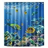 niedlichen Tiere das Baden Wasserdichter Duschvorhang Liner, WC-Bad Duschvorhang Dekor, Ocean World Fishes, 180x200
