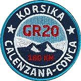 2 x Korsika GR20 Abzeichen 55 mm gestickt / Fern-Wanderweg GR-20 / Aufnäher Aufbügler Sticker Patch / Trekking Wandern Mare Monti Camping Wanderkarte Wanderführer Tourenführer...