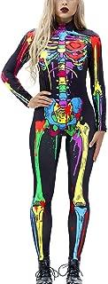 Idgreatim Women Halloween Cosplay Costume Funny Skeleton Bodysuit Long Sleeve Skinny Catsuit Jumpsuit