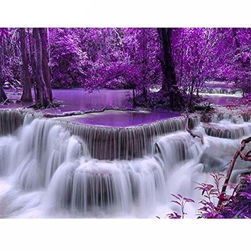 "5D DIY Diamond Painting""Purple Forest Waterfall"" Embroidery Full Diamond Cross Stitch Rhinestone Mosaic Painting Decor"