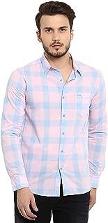 Mufti Men's Checkered Slim Fit Casual Shirt (MFS-9576-H-09_Pink_XL)