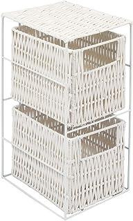 woodluv - Estantería con 2 cestos (Resina), Color Blanco