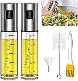 Bugucat Vaporisateur Huile, Pluvérisateur d'Huile 100ml Spray Huile d'olive avec Brosse Accessoire Plancha Parfait pour Cu...