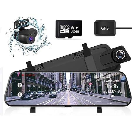 ミラー型 ドライブレコーダー 前後カメラ 1296P高画質 32GBカード付属 Sony IMX335センサー10インチ タッチパネル 1080P FHDフルHD 前170°後150°広角レンズ GPS搭載 超大きフルスクリーン 超鮮明夜間撮影 ドラレコ レコーダー 24時間駐車監視 ループ録画 衝撃録画 非常用電源搭載 防水バックカメラ 温度対策 日本語システム 日本語取説付 電波干渉無し AZDOME