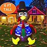 MAOYUE 6ft Inflatable Turkey Thanksgiving Inflatable Outdoor Decorations Blow up Turkey Built-in Rotating LED Colorful Lights with Tethers, Stakes, Thanksgiving Decorations for Outdoor, Yard, Garden