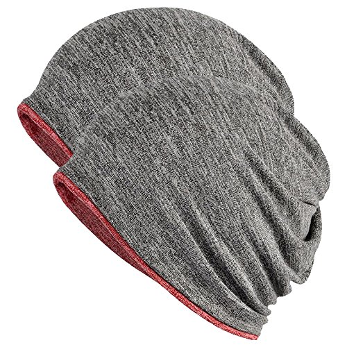FORTREE 2 Pack Multifunction Slouchy Beanie for Jogging, Cycling (Grey & Red)