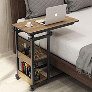 Tribesigns Snack Side Table, Mobile End Table Height Adjustable Bedside Table Laptop Rolling Cart C Shaped TV Tray with Storage Shelves for Sofa Couch (Oak)