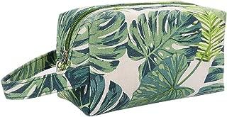HOYOFO Canvas Makeup Bags Womens Cosemetic Pouch Travel Clutch Purse Tropical Leaves Handbag Organizer with Zipper, Green BM