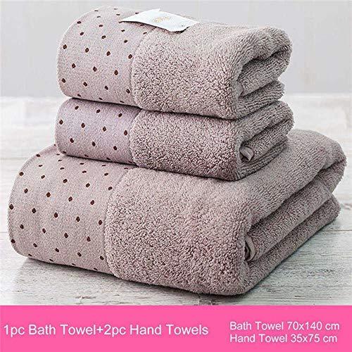 LASISZ 3PCS Towel Set Solid Color Cotton Large Thick Bath Towel Bathroom Hand Face Shower Towels Home for Adults Kids Face + Bath Towel,Light Brown,3pcs