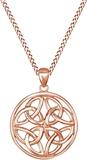 Jewel Zone US Celtic Knot Pendant Necklace 14k Gold Over Sterling Silver