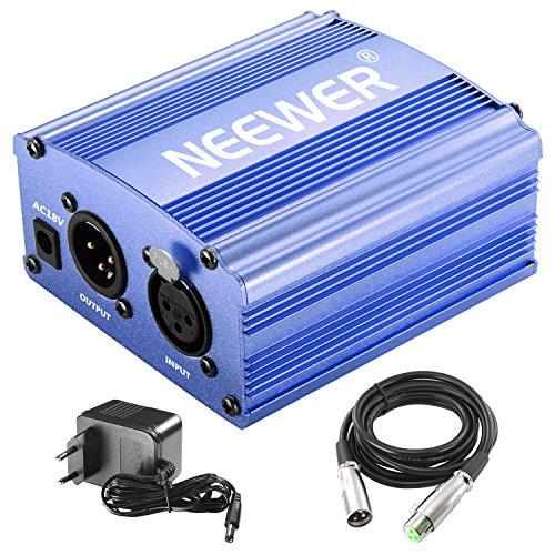Neewer 1-Canal Phantom 48V Alimentación Suplimiento Negro con Adaptador y Cable de Audio XLR para Caulquier Micrófono Condensador Músico Equipo de Grabación (Azul)