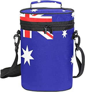 Flag Of Australia Insulated 2 Bottle Wine Carrier Padded Wine Cooler Carrying Bag for Travel