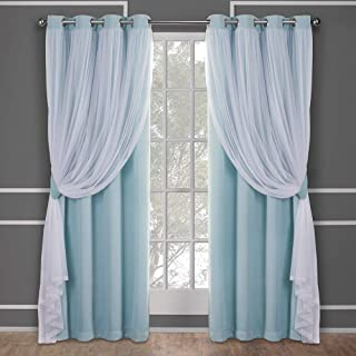 Exclusive Home Curtains Catarina Layered Solid Blackout and Sheer Window Curtain Panel Pair with Grommet Top, 52x84, Aqua, 2 Piece