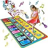 BelleStyle Alfombra de Piano, 148 x 60 cm Grande Alfombra Musical de Teclado para Bebé, Alfombra de Baile, 8 Instrumentos Suenan Juego Táctil Estera Educativo Juguetes Musicales para Niños Niñas