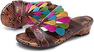 Womens Slide Sandals, Leather Flat Sandal Slip On Flip Flop Shoes Flower Splicing Sandals