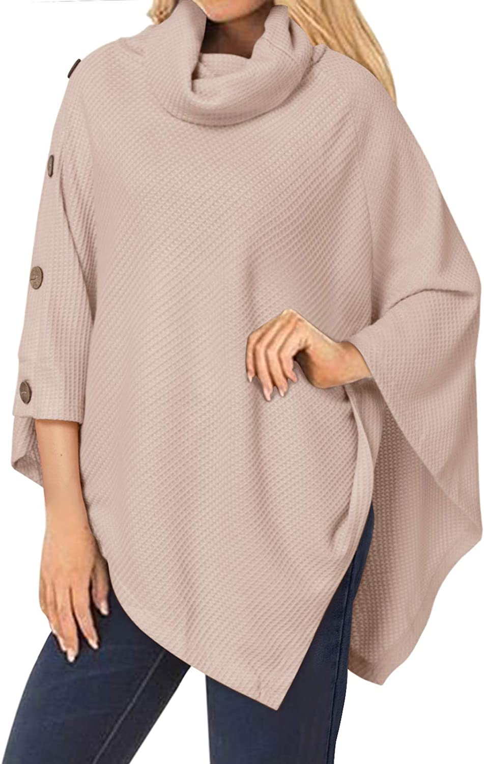StyleDome Women's Turtle Cowl Neck Pullover Sweater Poncho Asymmetric Hem Loose Knit Button Tops