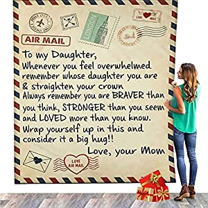 Perfect Gift for My Daughter: The Daughter Blankets from Mom likes a Warm hug fulling of blessings, bereavement, encouragement and Love. A SOFT EMBRACE WITH INSPIRING WORDS.Instead send a luxurious hug through this cosy, snuggly blanket so they will ...