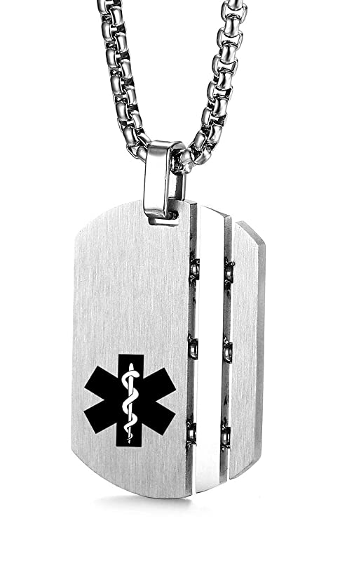 JF.JEWELRY Customize Stainless Steel Medical Alert ID Pendant Necklace for Men and Women