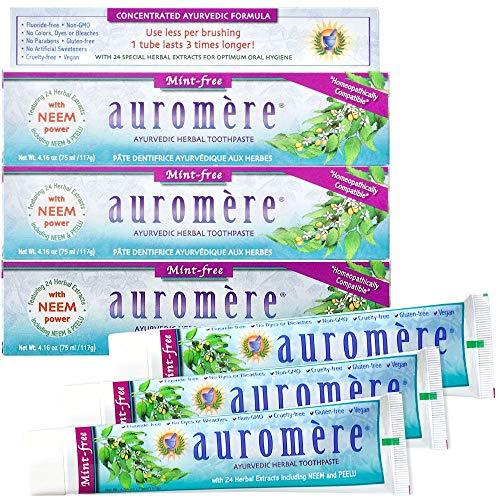Auromere Ayurvedic Herbal Toothpaste, Mint Free - Vegan, Natural, Non GMO, Fluoride Free, Gluten Free, with Neem & Peelu (4.16 oz), 3 Pack