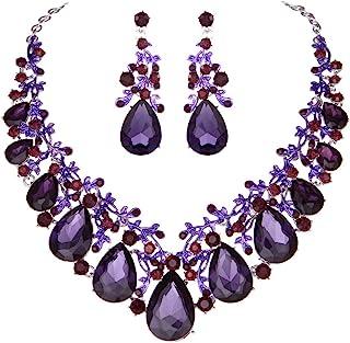 silver foil pearl purple mesh wire purple and silver Necklace with large purple agate purple earrings wedding
