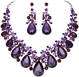 Austrian Crystal Leaf Statement Wedding Necklace and Earrings Jewelry Sets for Women Formal Dress