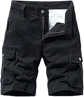waitFOR Mens Knee Length Solid Color Combat Cargo Shorts Summer Casual Slim Fit Elastic Waist Work Shorts for Men Multi Po...