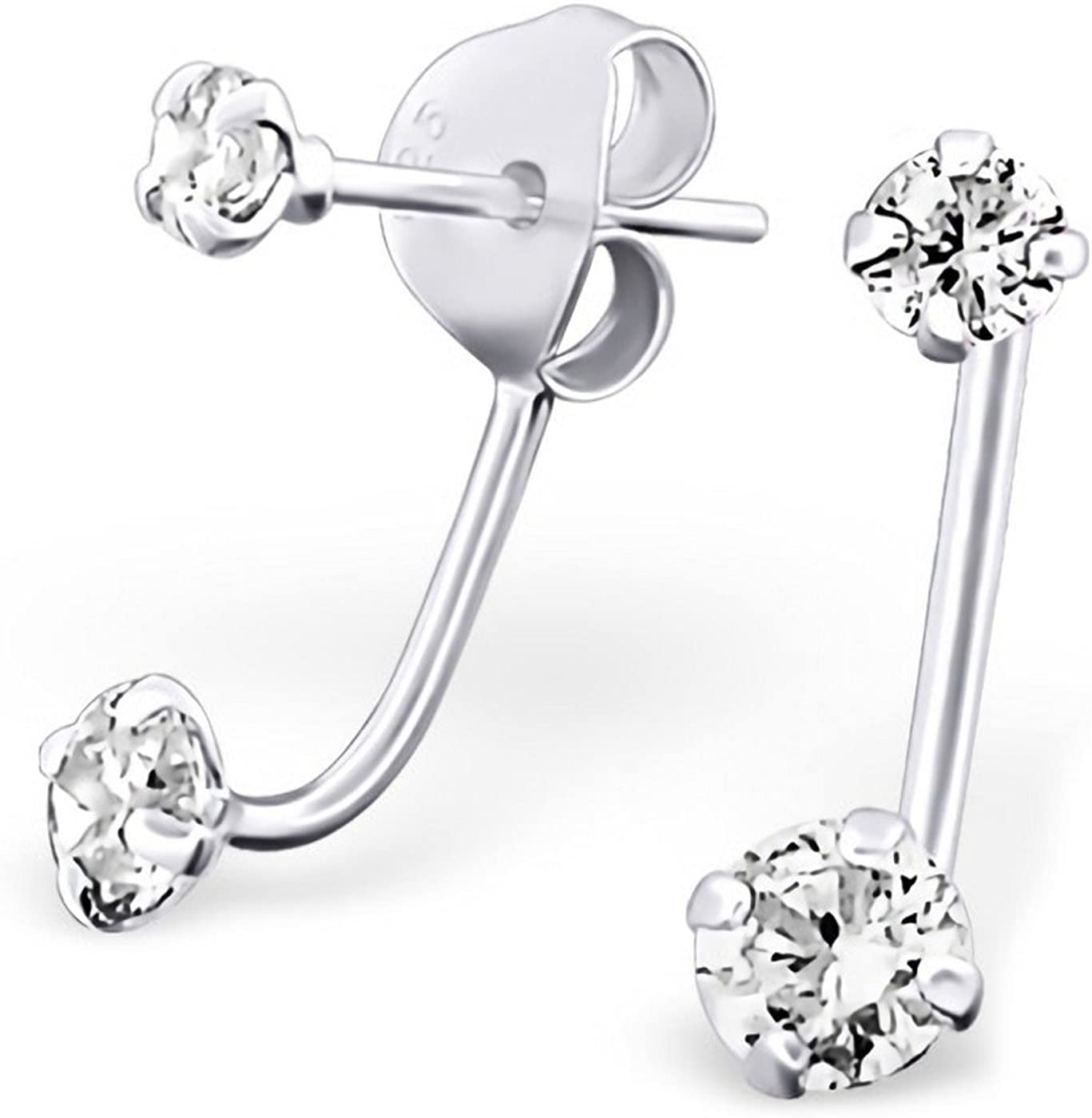 Complete Free Shipping High quality Unique Hanging Round Studs with Zirconia Sterling Cubic Silv 925