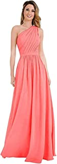 Women's One Shoulder Bridesmaid Dresses Chiffon Pleated Long Prom Party Gowns