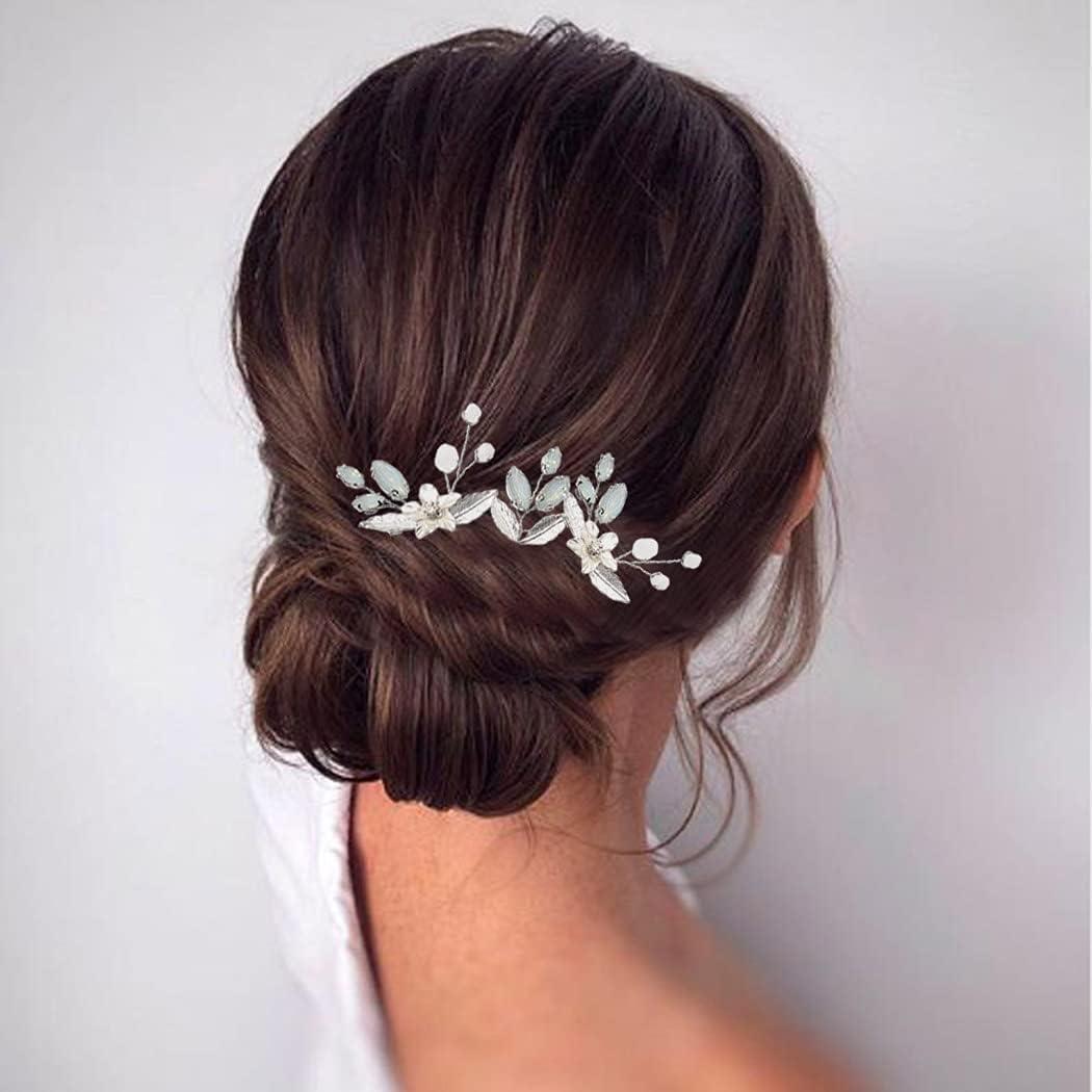 Runmi Horquillas para el pelo de novia con hojas plateadas, accesorios para el cabello para mujeres y niñas (paquete de 3)