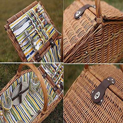 61jMPgtxAvL - fang zhou Delux Rattan Picknickkorb, Doppeldeckel Classic tragbar, 4-Personen-Picknickzubehörset Ablagekörbe Grillzubehör, passend für Park Beach