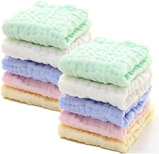 Gant de toilette en mousseline pour peau sensible Lingettes r/éutilisables en coton biologique naturel Hmlike Ensemble de 6 d/ébarbouillettes de bain pour b/éb/é