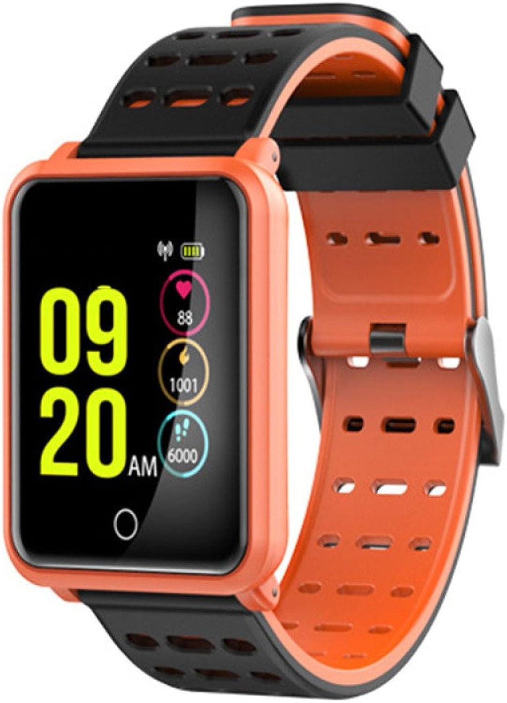 QSM Lange Standby-Uhr, Blautooth-Anruf Verschlei Pulsuhr Smartwatch, Temperament Zu Sehen,Orange,A