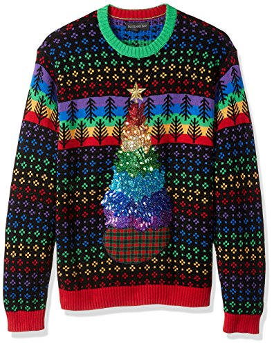 Blizzard Bay Men's Ugly Sweater Hanukkah, Rainbox Christmas Tree, Large