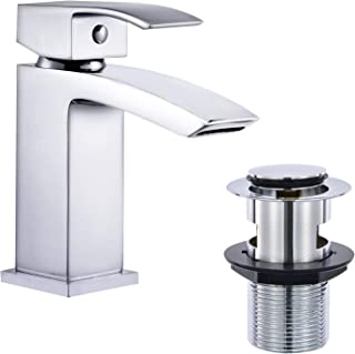 Hapilife Basin Taps Waterfall with Pop up Waste Square Bathroom Sink Mixer Taps with UK Standard Hoses