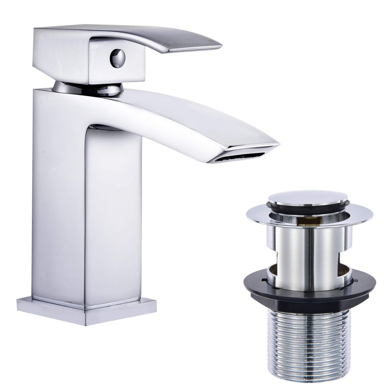 Square Basin Mono Mixer Sink Tap Bathroom Waterfall Heavy Brass Chrome Waste