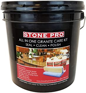 Stone Pro All In One Granite Care Kit - Seal, Clean, Polish - Ultimate Pro Granite Sealer, Crystal Clean Daily Cleaner, Finishing Touch Granite Polish, Microfiber Cloths And Sealer Applicator - Kit